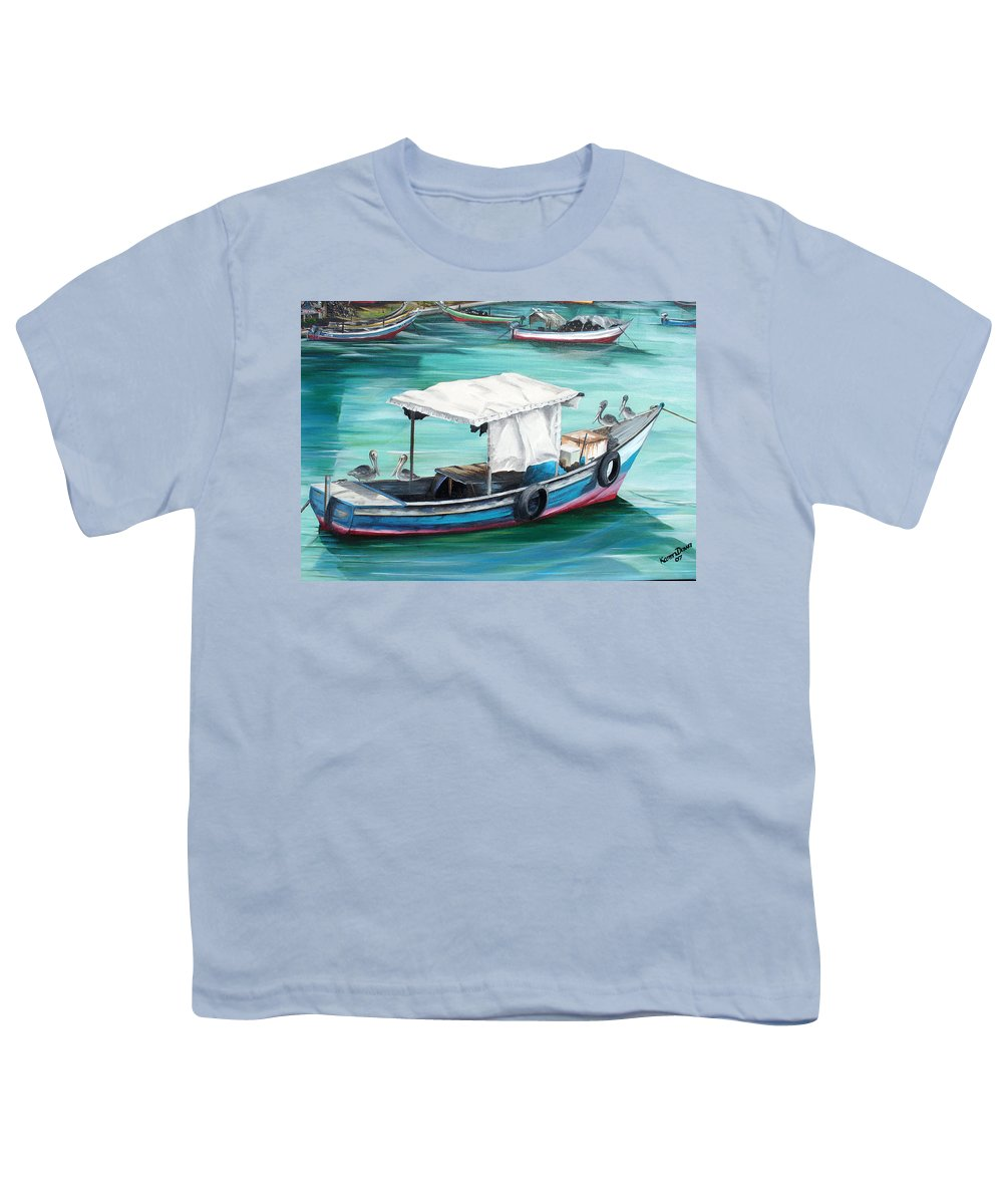 Fishing Boat Painting Seascape Ocean Painting Pelican Painting Boat Painting Caribbean Painting Pirogue Oil Fishing Boat Trinidad And Tobago Youth T-Shirt featuring the painting Pirogue Fishing Boat by Karin Dawn Kelshall- Best