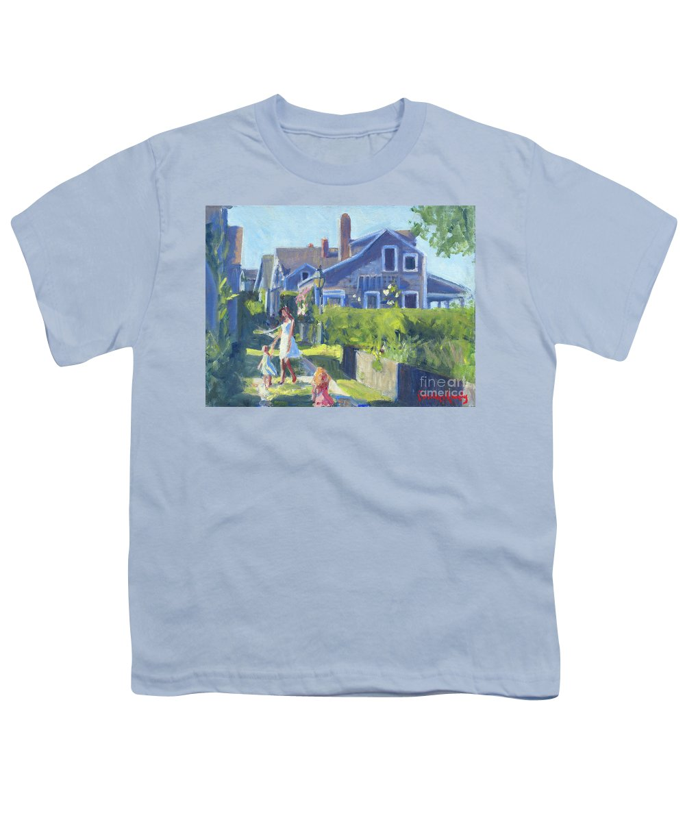 Playing On Front Street Youth T-Shirt featuring the painting Playing On Front Street by Candace Lovely