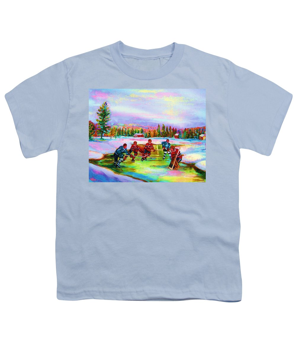 Hockey Youth T-Shirt featuring the painting Pond Hockey Blue Skies by Carole Spandau