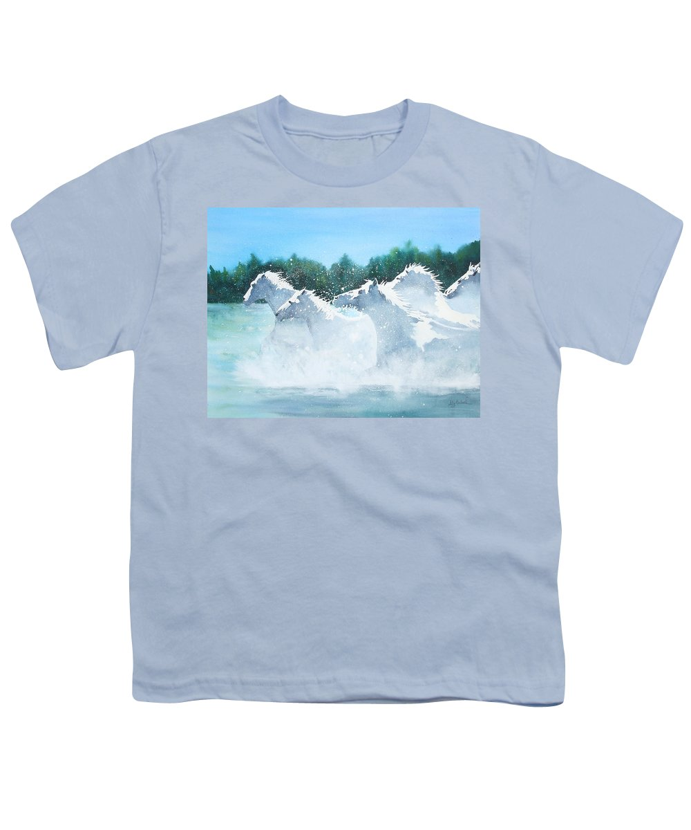 Horse Youth T-Shirt featuring the painting Splash 2 by Ally Benbrook