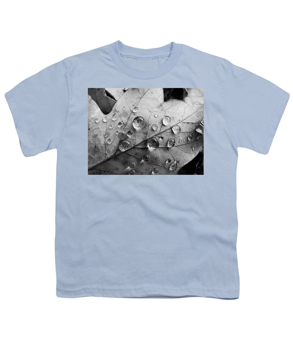Drops Youth T-Shirt featuring the photograph Raindrops by Daniel Csoka