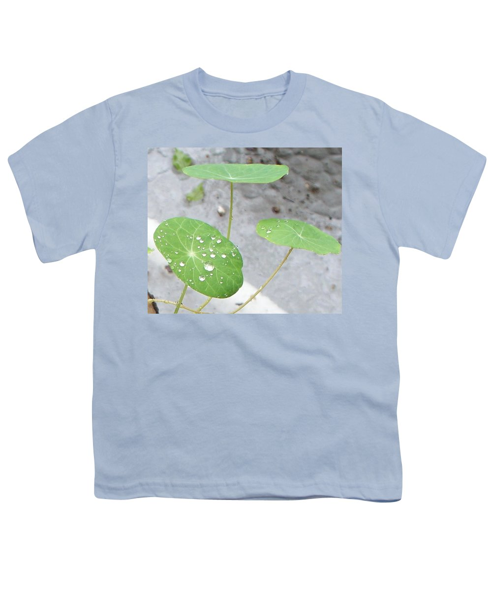 Floral Youth T-Shirt featuring the painting Raindrops On A Nasturtium Leaf by Eric Schiabor