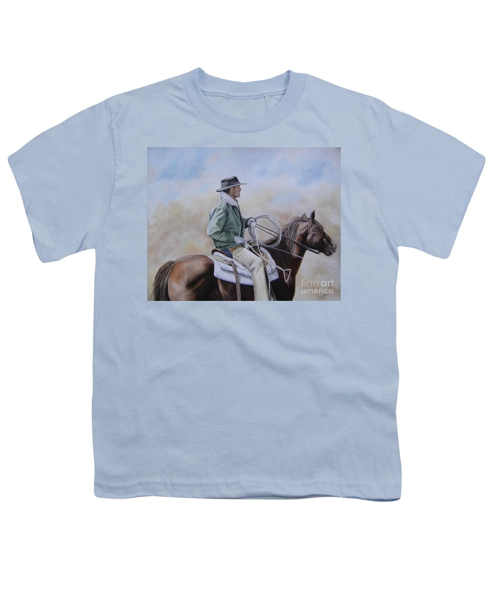 Ranch Youth T-Shirt featuring the painting Ready To Rope by Mary Rogers