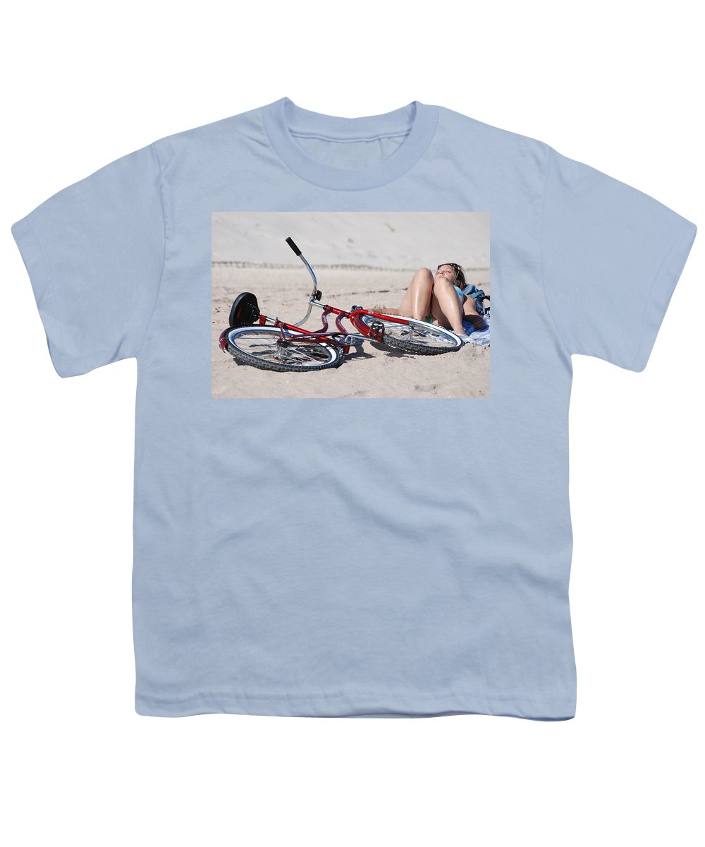Red Youth T-Shirt featuring the photograph Red Bike On The Beach by Rob Hans