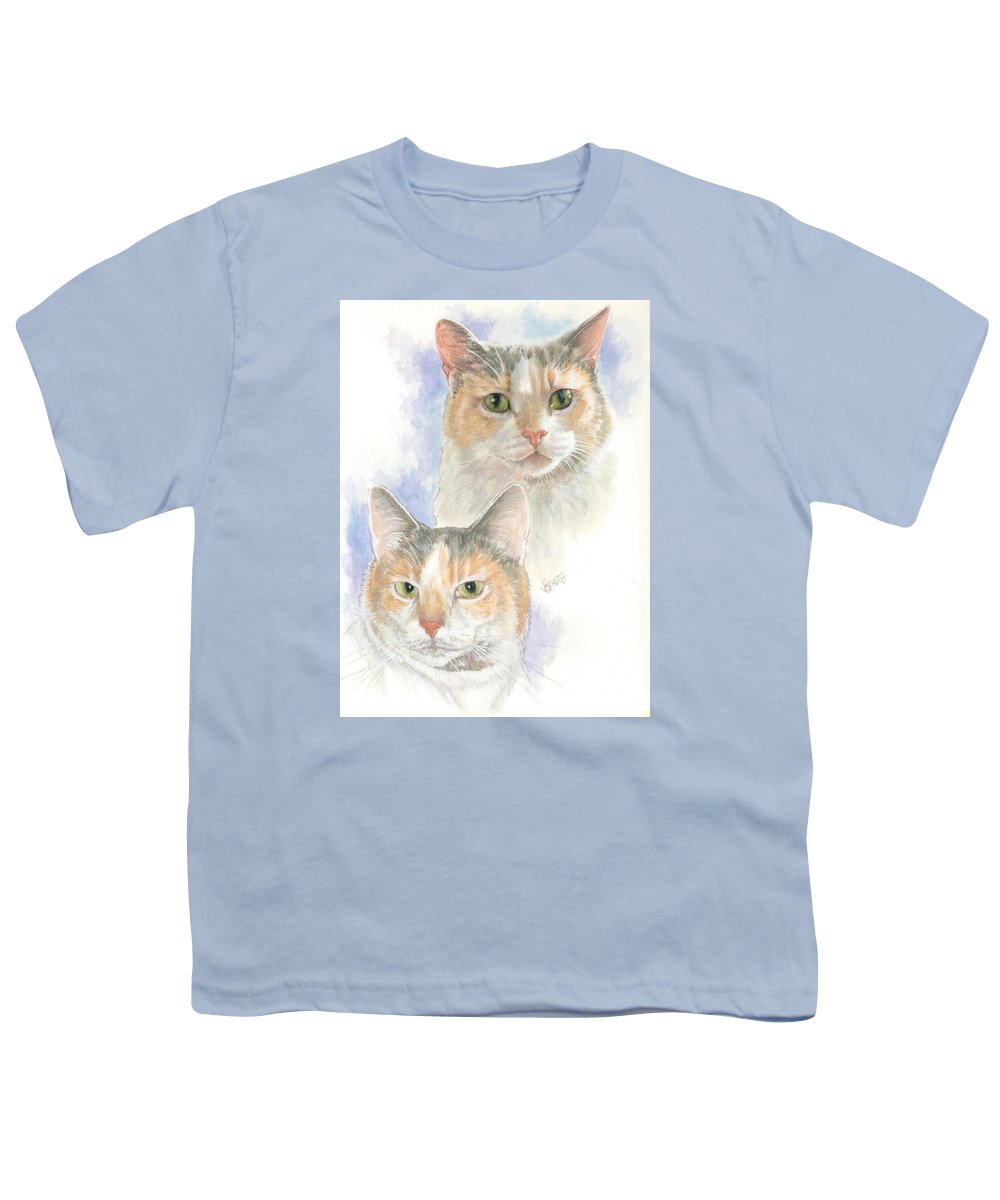 Domestic Cat Youth T-Shirt featuring the mixed media Reno by Barbara Keith