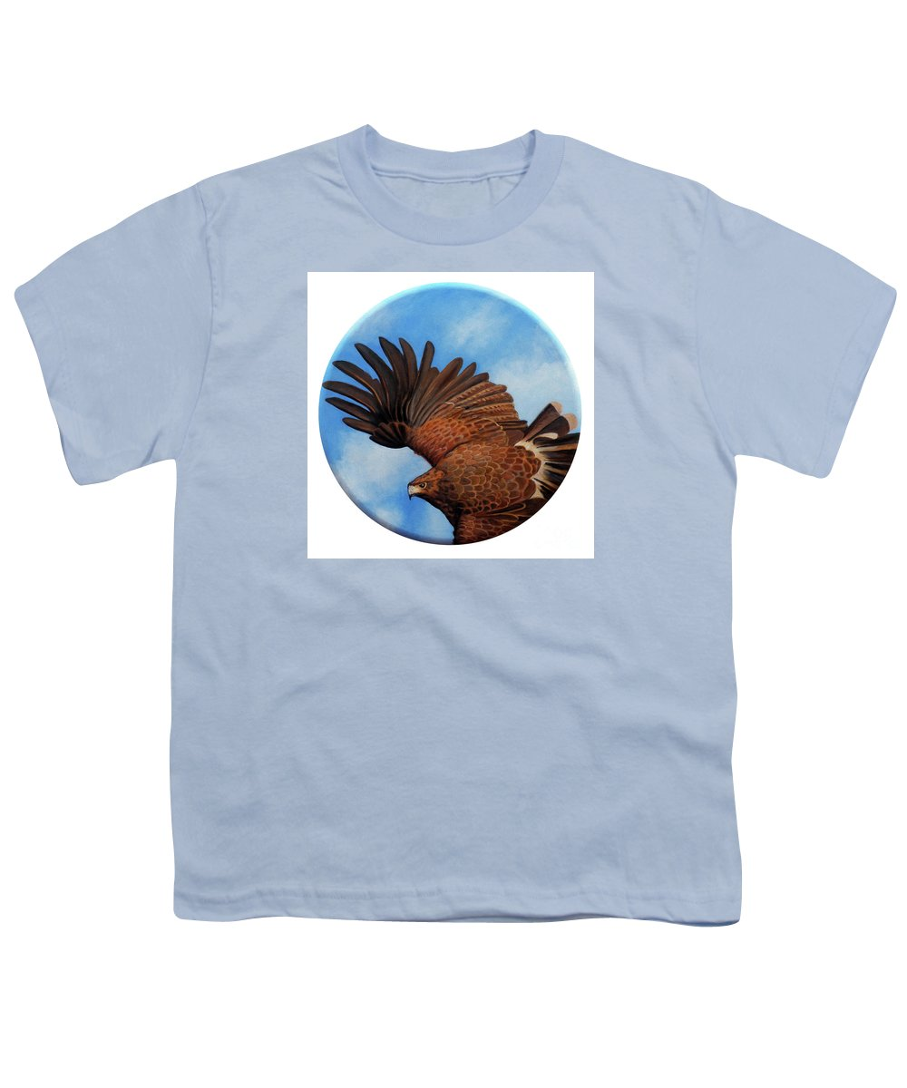 Hawk Youth T-Shirt featuring the painting Riding The Wind by Brian Commerford