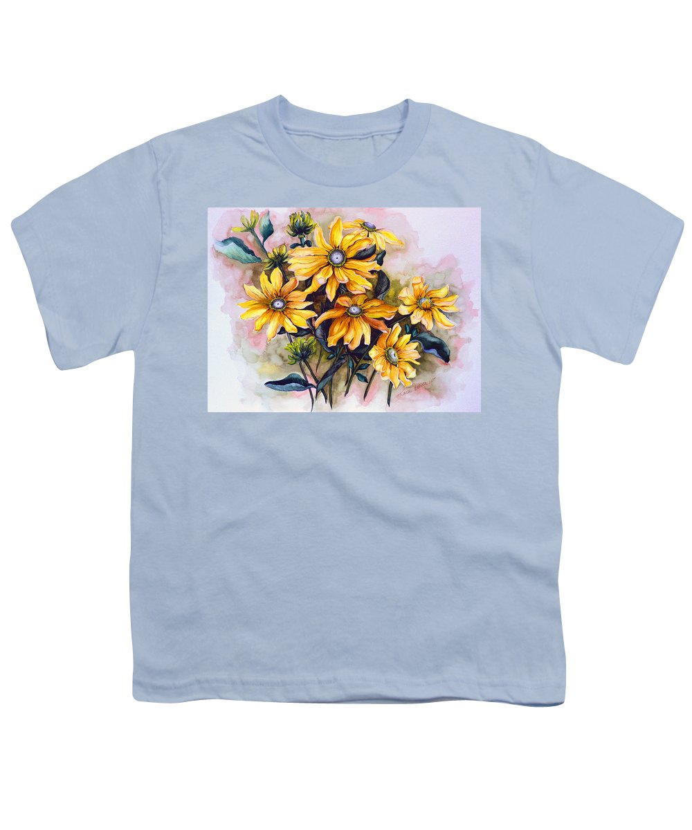 Flower Painting Sun Flower Painting Flower Botanical Painting  Original Watercolor Painting Rudebeckia Painting Floral Painting Yellow Painting Greeting Card Painting Youth T-Shirt featuring the painting Rudbeckia Prairie Sun by Karin Dawn Kelshall- Best