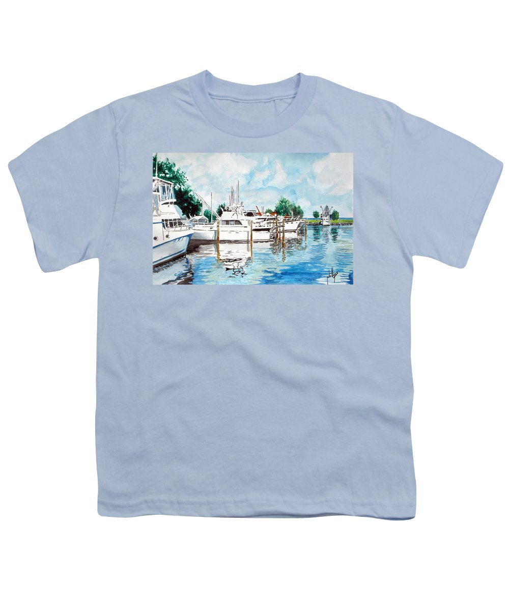 Boats Harbor Coastal Nautical Youth T-Shirt featuring the painting Safe Harbor by Jim Phillips