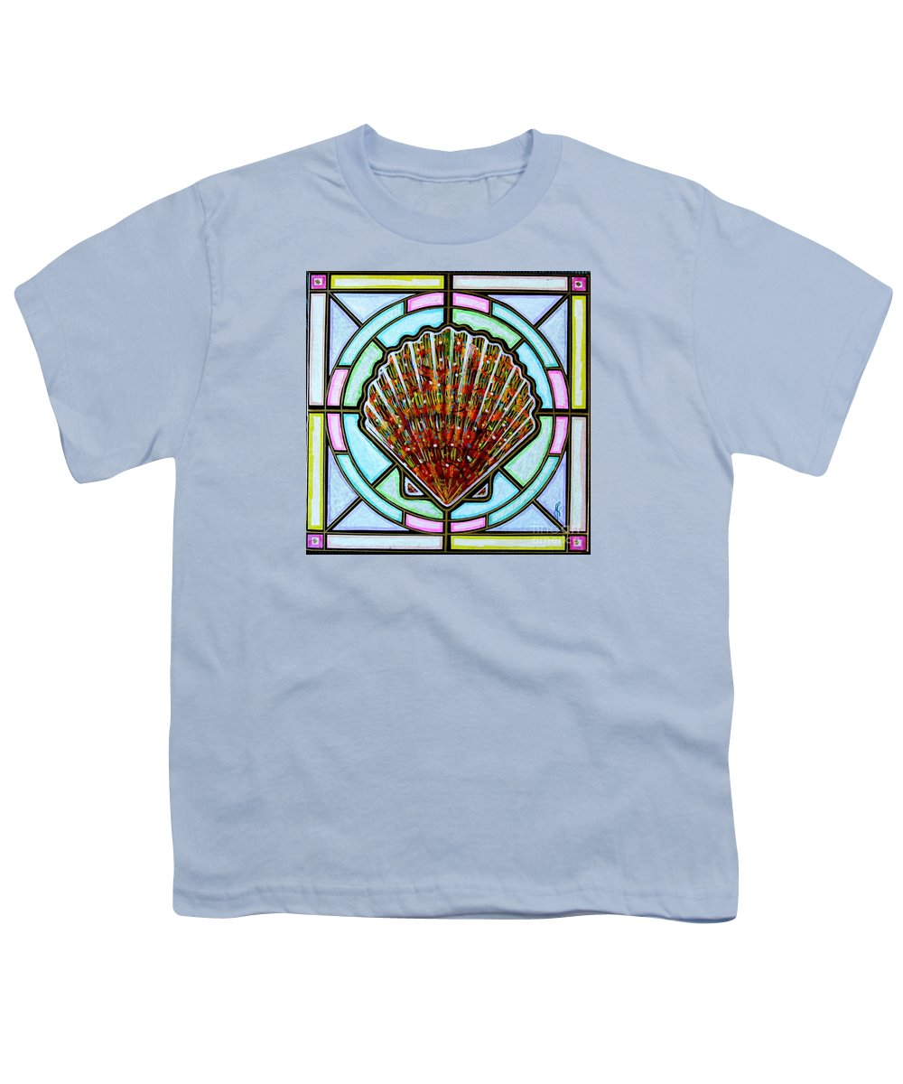 She Shells Youth T-Shirt featuring the painting Scallop Shell 1 by Jim Harris