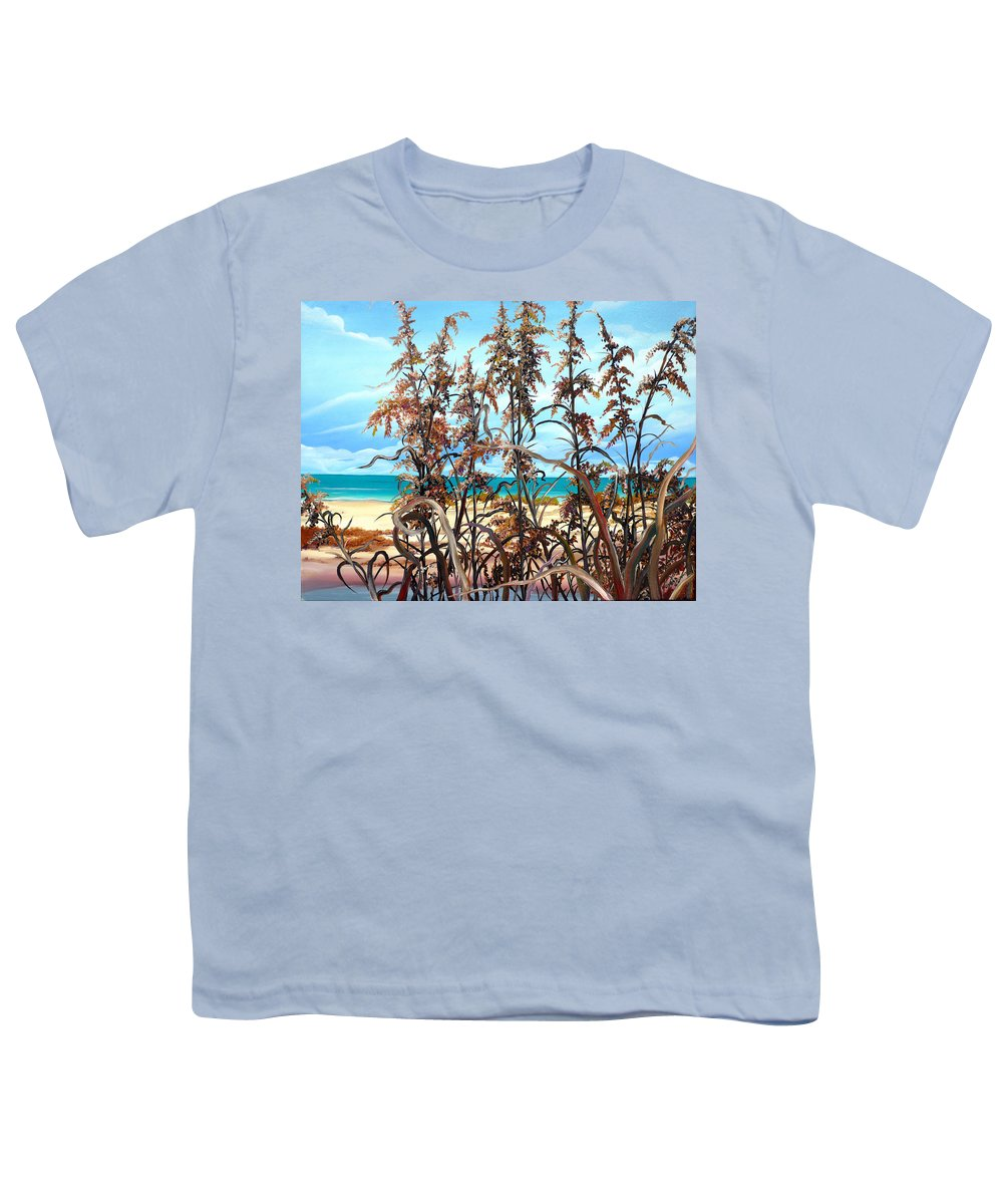 Ocean Painting Sea Oats Painting Beach Painting Seascape Painting Beach Painting Florida Painting Greeting Card Painting Youth T-Shirt featuring the painting Sea Oats by Karin Dawn Kelshall- Best