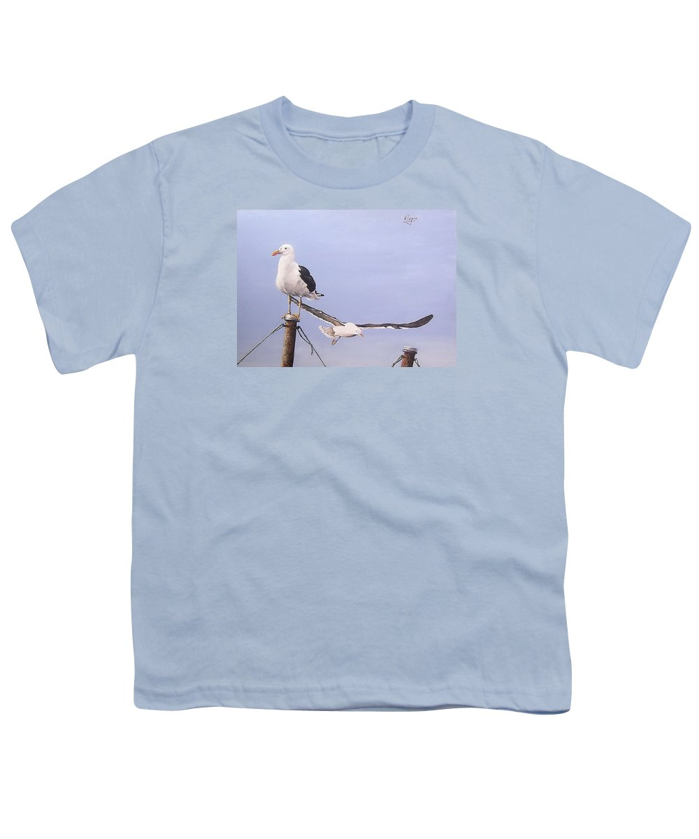 Seascape Gulls Bird Sea Youth T-Shirt featuring the painting Seagulls by Natalia Tejera