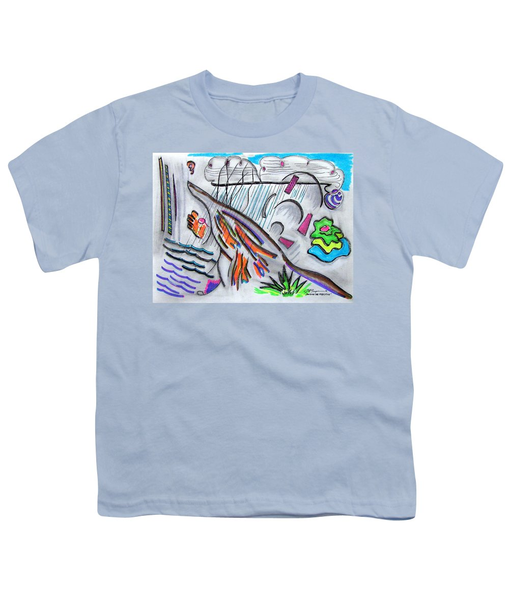 Abstract Drawing Youth T-Shirt featuring the drawing Sensing The Precipice by J R Seymour