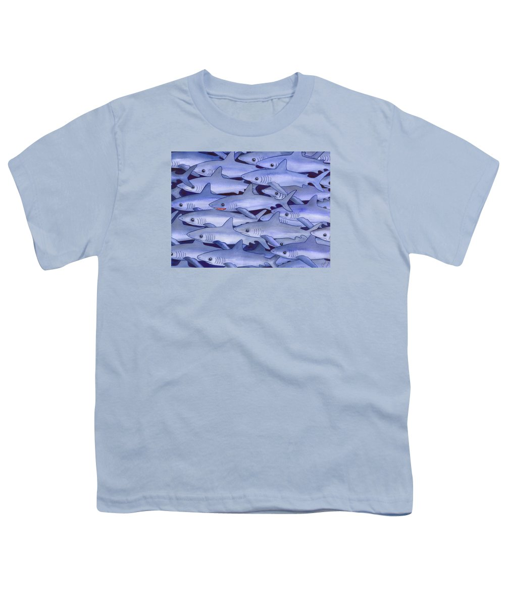 Shark Youth T-Shirt featuring the painting Sharks by Catherine G McElroy