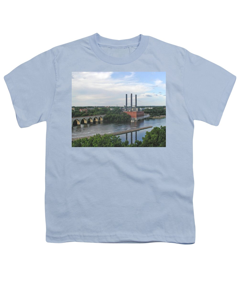 Minneapolis Youth T-Shirt featuring the photograph Smokestacks On The Mississippi by Tom Reynen