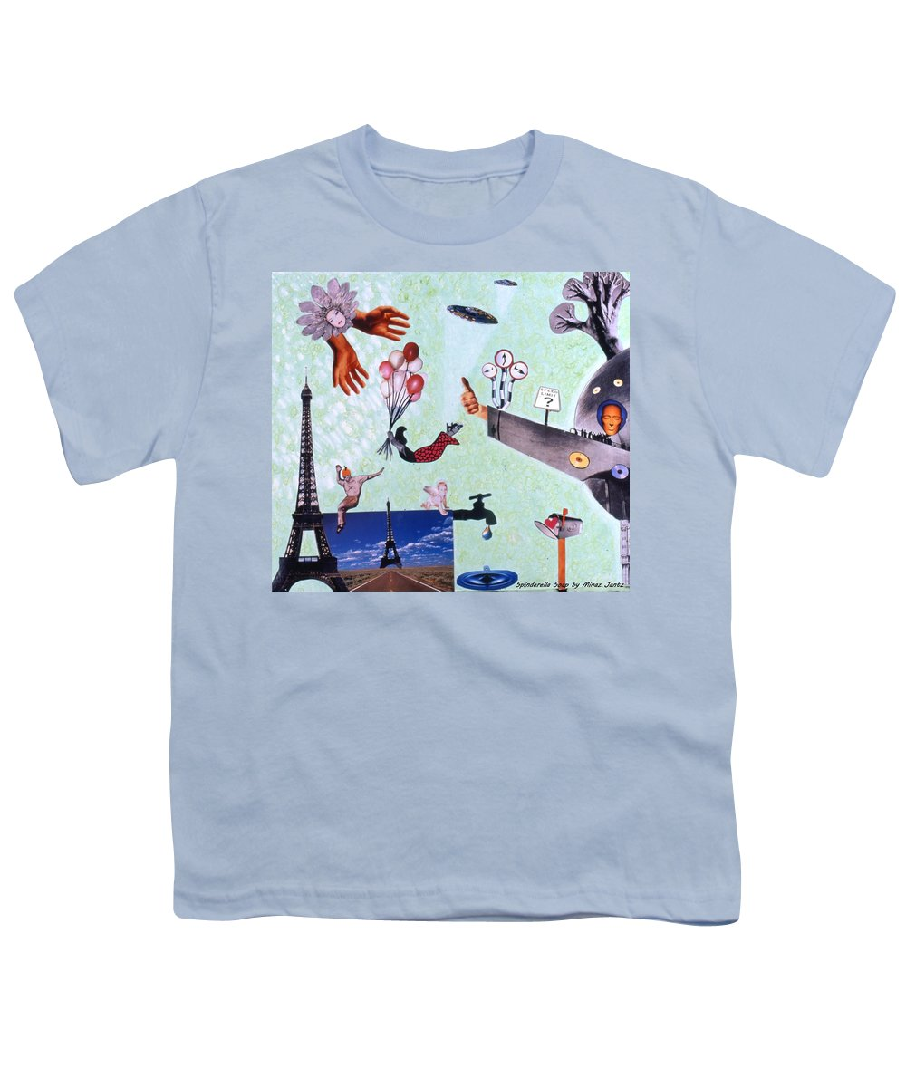Eiffel Tower Youth T-Shirt featuring the drawing Soap Scene #27 Zelestial Headquarters by Minaz Jantz