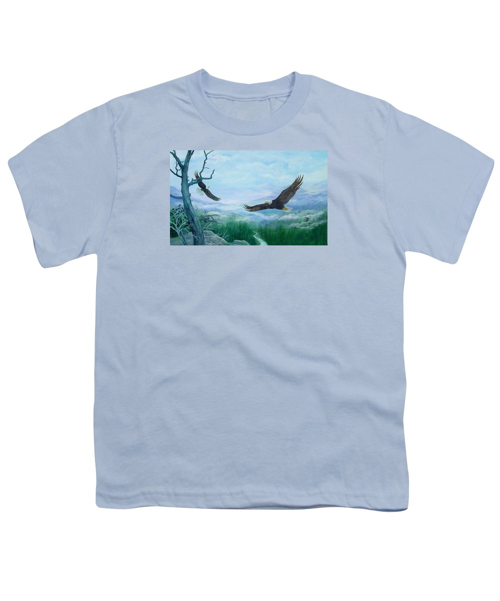 Eagles;birds;river Valley;mountains;sky; Youth T-Shirt featuring the painting Soaring by Lois Mountz