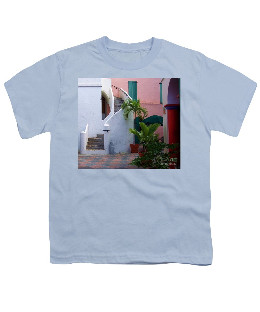 Architecture Youth T-Shirt featuring the photograph St. Thomas Courtyard by Debbi Granruth