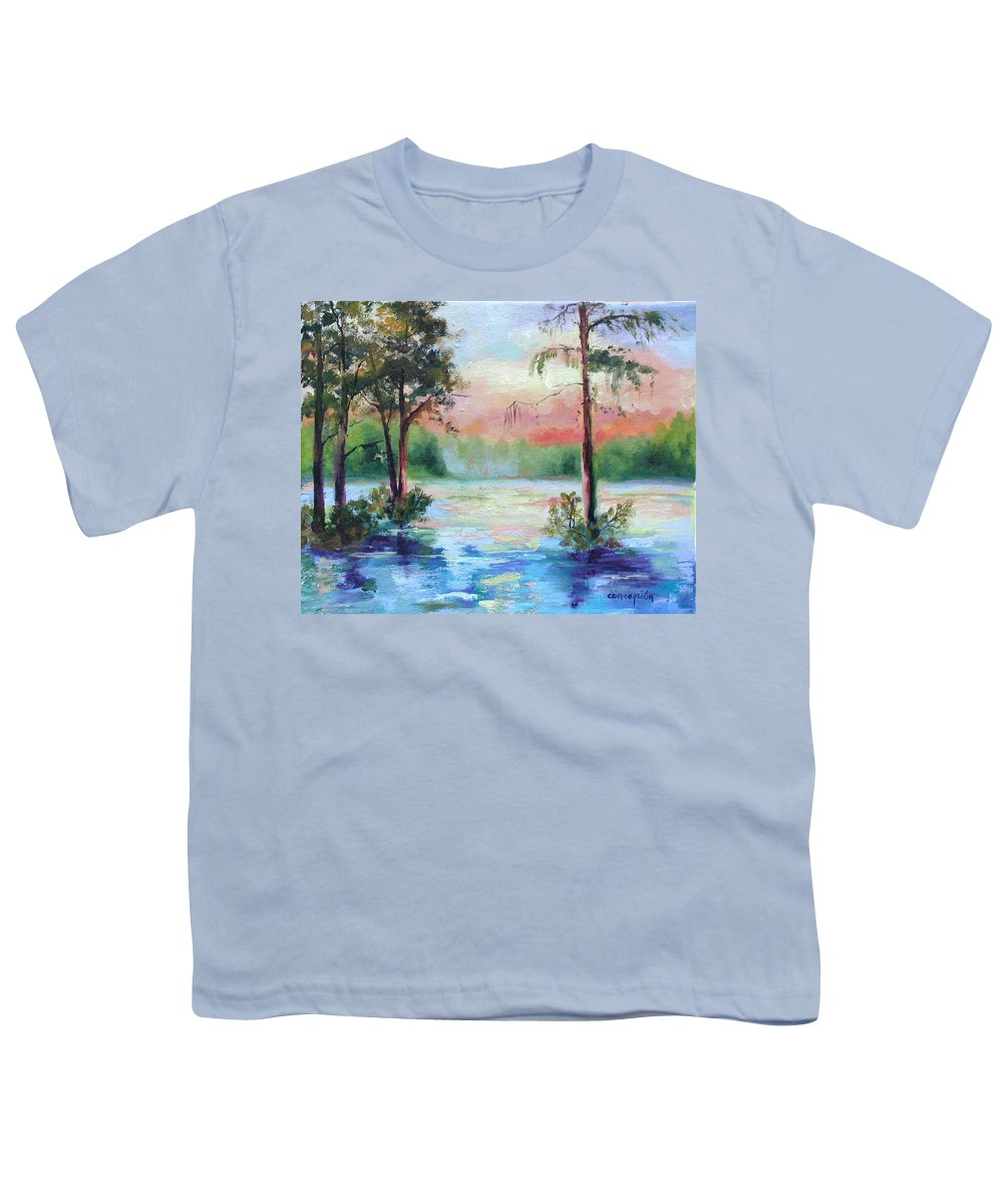Sunset Youth T-Shirt featuring the painting Sunset Bayou by Ginger Concepcion