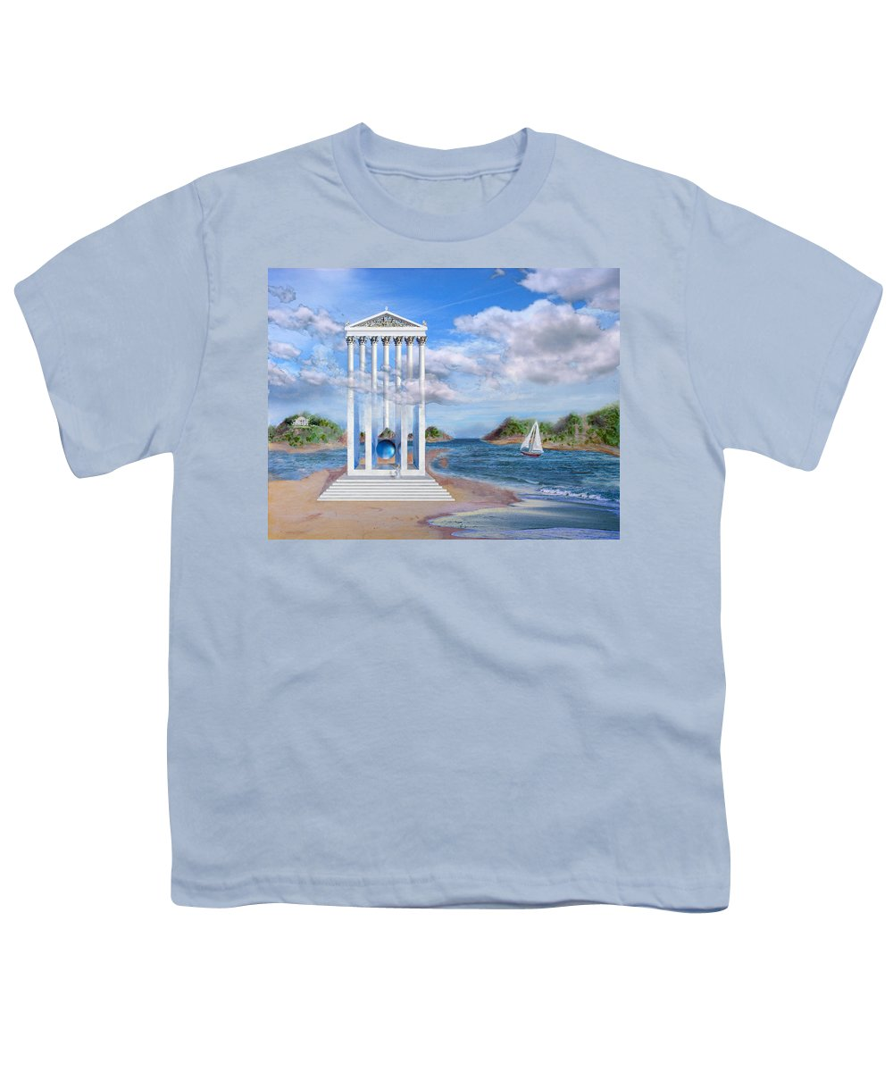 Landscape Youth T-Shirt featuring the painting Temple For No One by Steve Karol