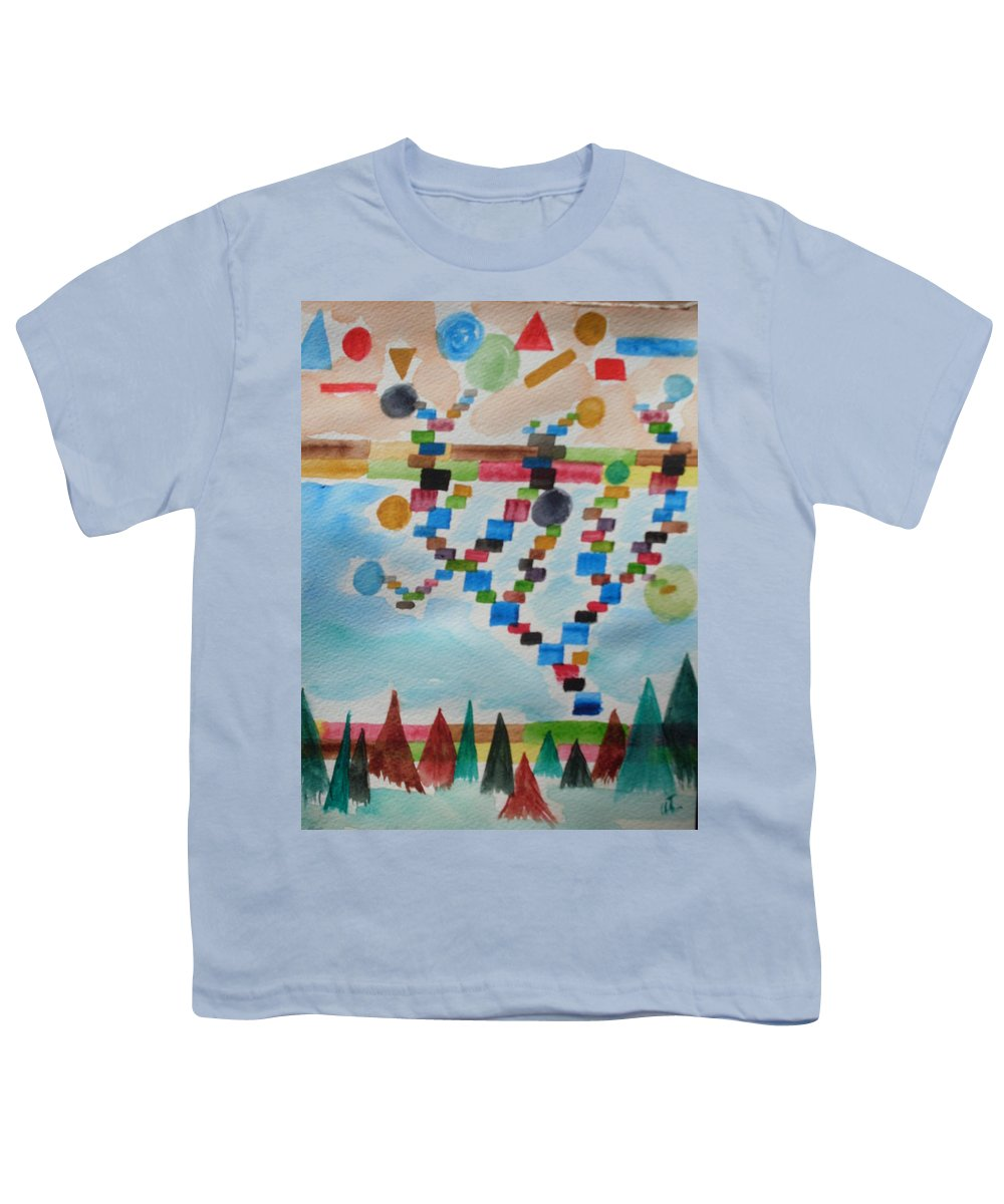 Abstract Youth T-Shirt featuring the painting Tetrus Meets Nature by Warren Thompson