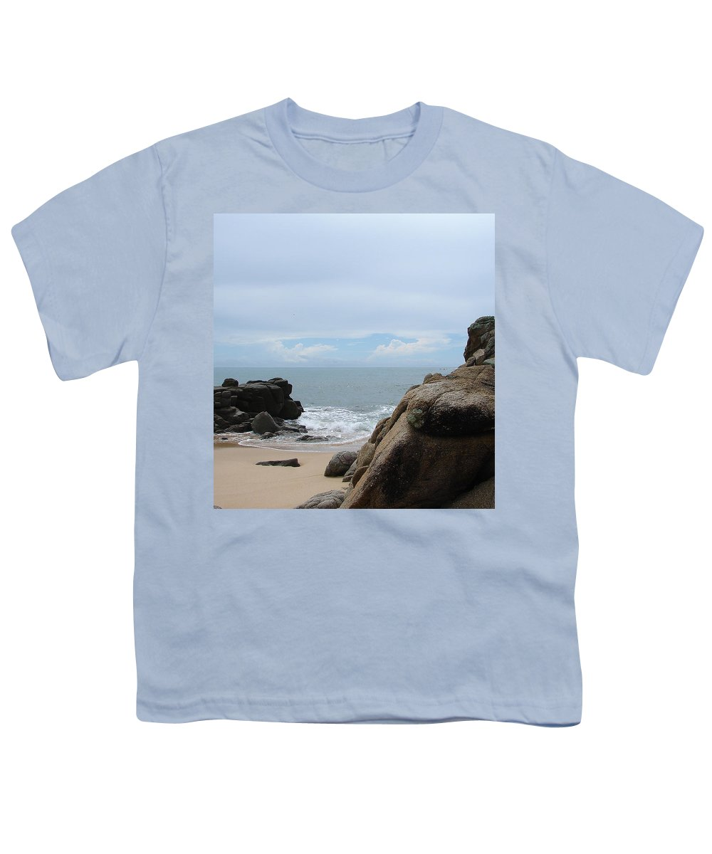 Sand Ocean Clouds Blue Sky Rocks Youth T-Shirt featuring the photograph The Beach 2 by Luciana Seymour