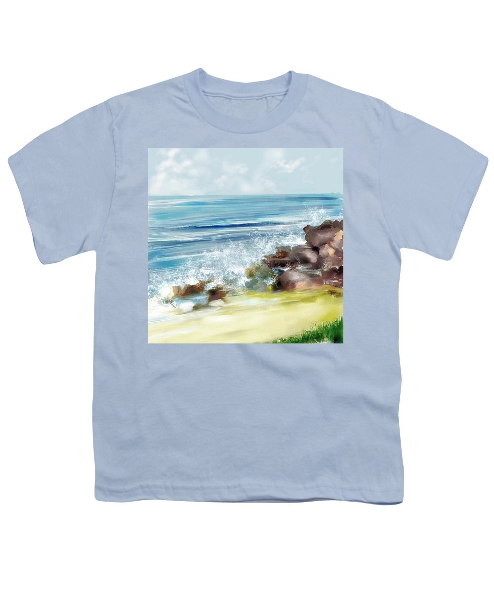 Beach Ocean Water Summer Waves Splash Youth T-Shirt featuring the digital art The Beach by Veronica Jackson