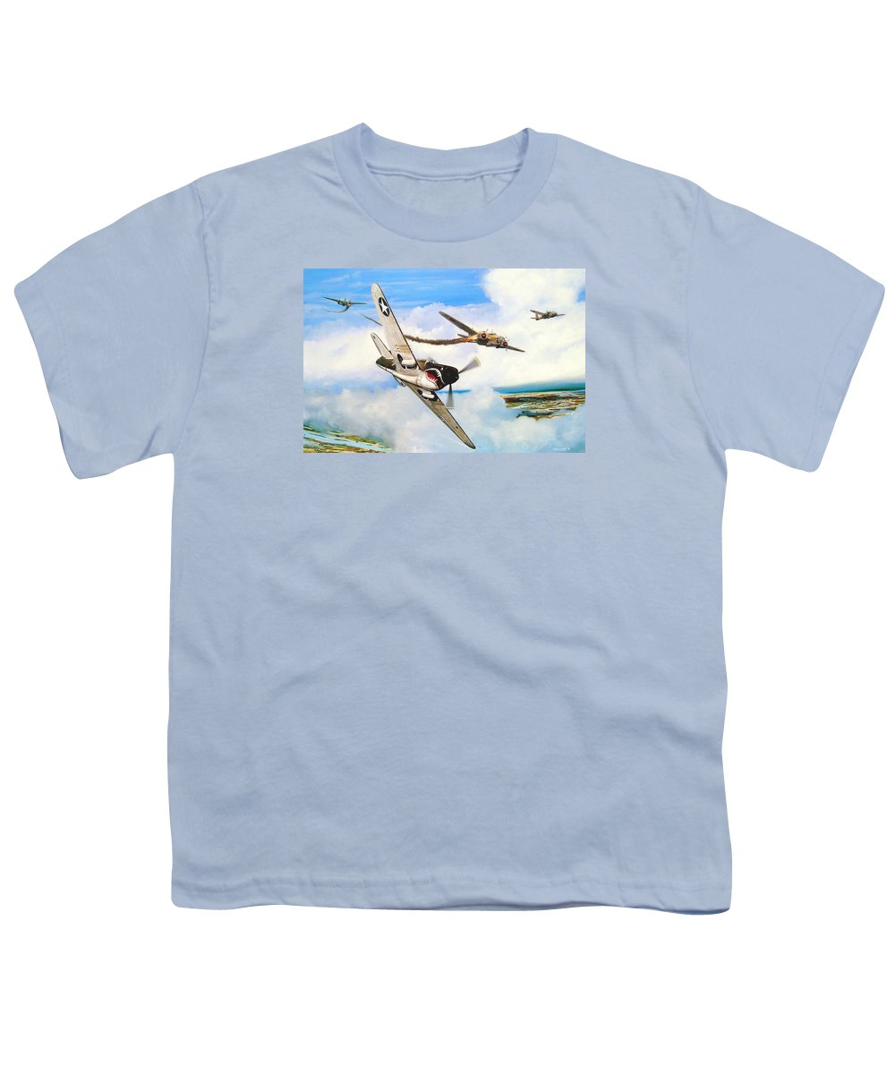 Military Youth T-Shirt featuring the painting The Day I Owned The Sky by Marc Stewart