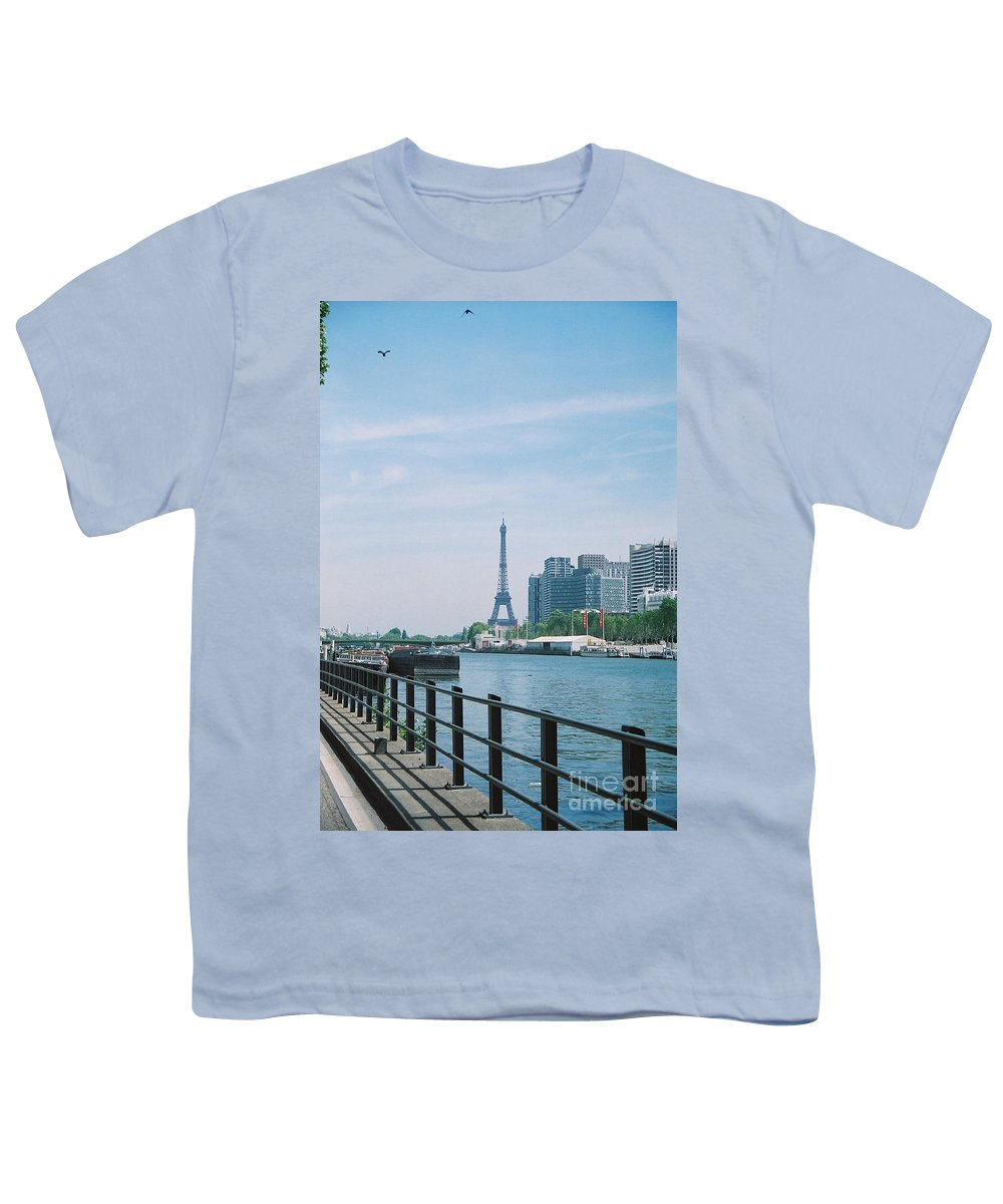 The Eiffel Tower Youth T-Shirt featuring the photograph The Eiffel Tower And The Seine River by Nadine Rippelmeyer