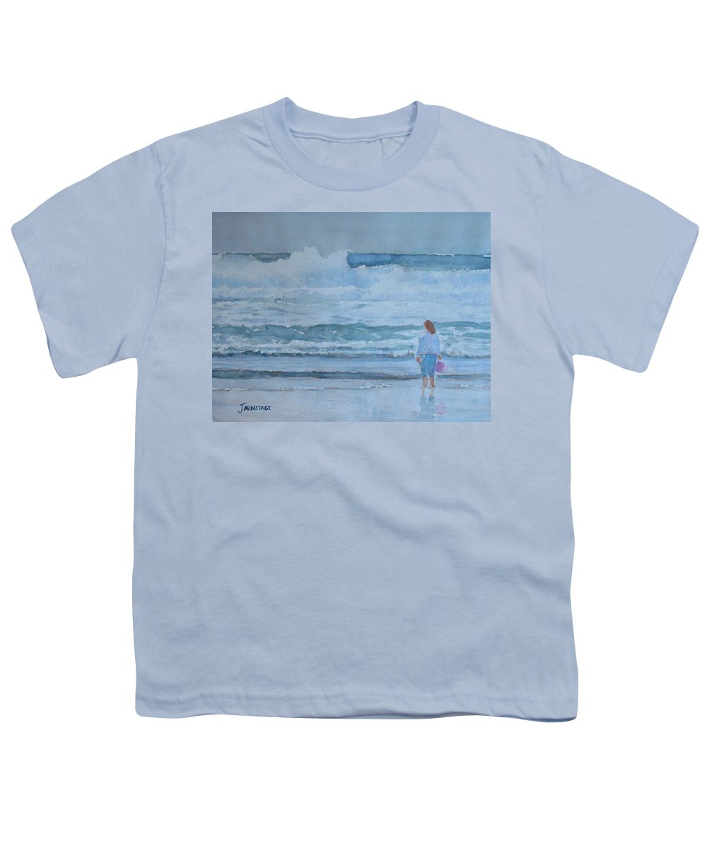 Bucket Youth T-Shirt featuring the painting The Pink Bucket by Jenny Armitage