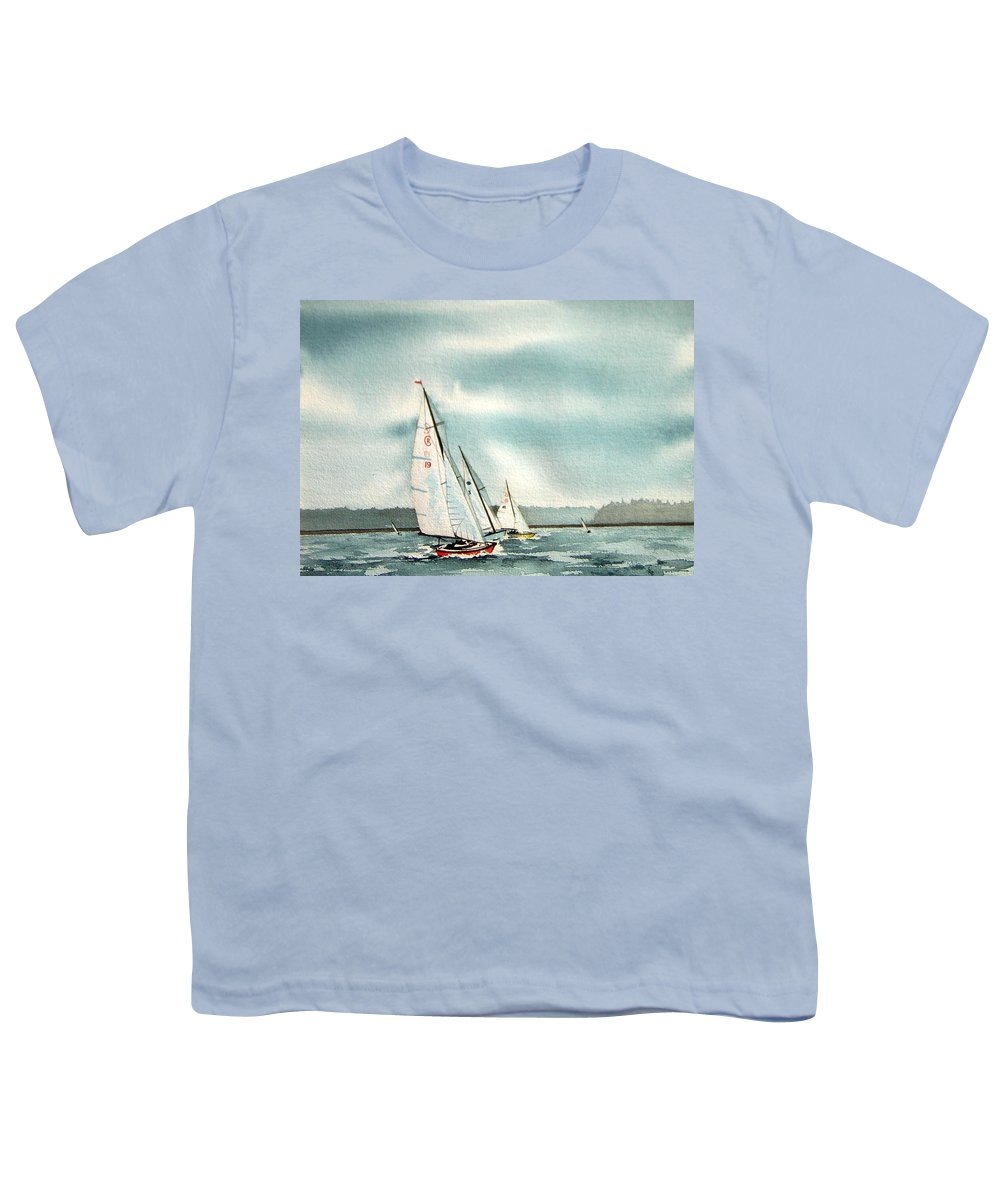 Sailing Youth T-Shirt featuring the painting The Race by Gale Cochran-Smith