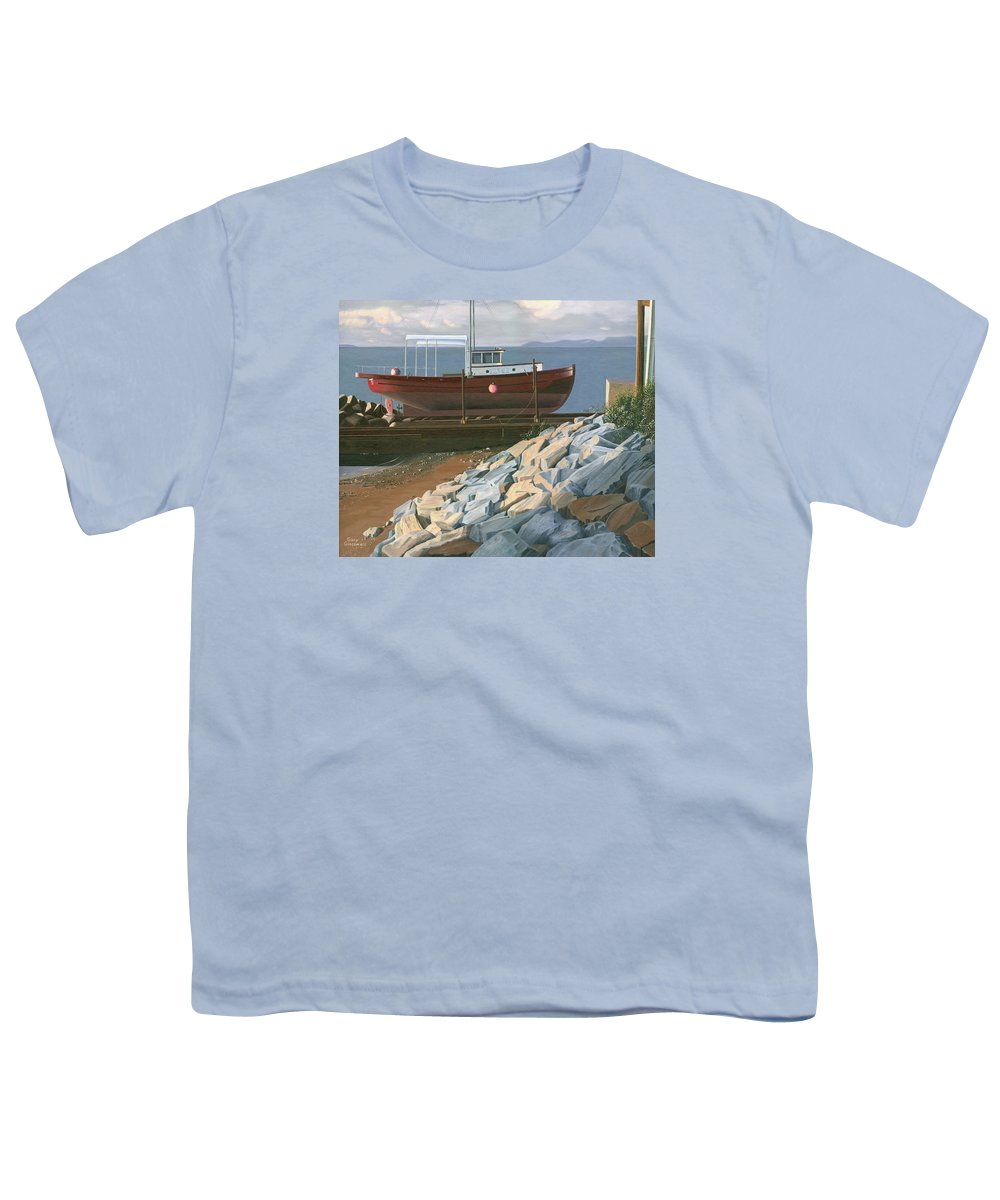 Ship Youth T-Shirt featuring the painting The Red Troller Revisited by Gary Giacomelli