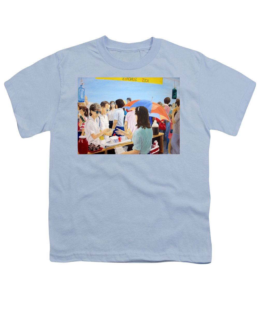 People Youth T-Shirt featuring the painting The Vendor by Steve Karol