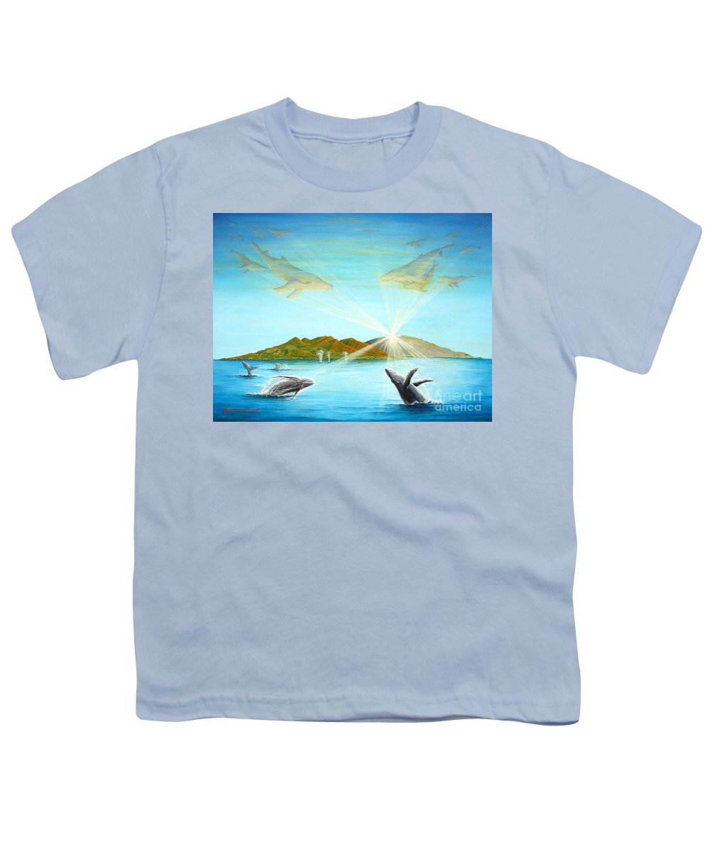 Whales Youth T-Shirt featuring the painting The Whales Of Maui by Jerome Stumphauzer