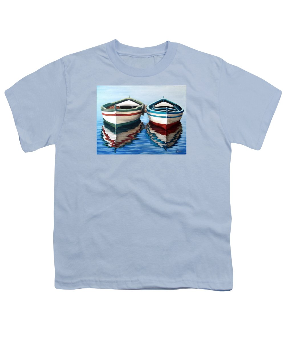 Seascape Sea Boat Reflection Water Ocean Youth T-Shirt featuring the painting Together by Natalia Tejera