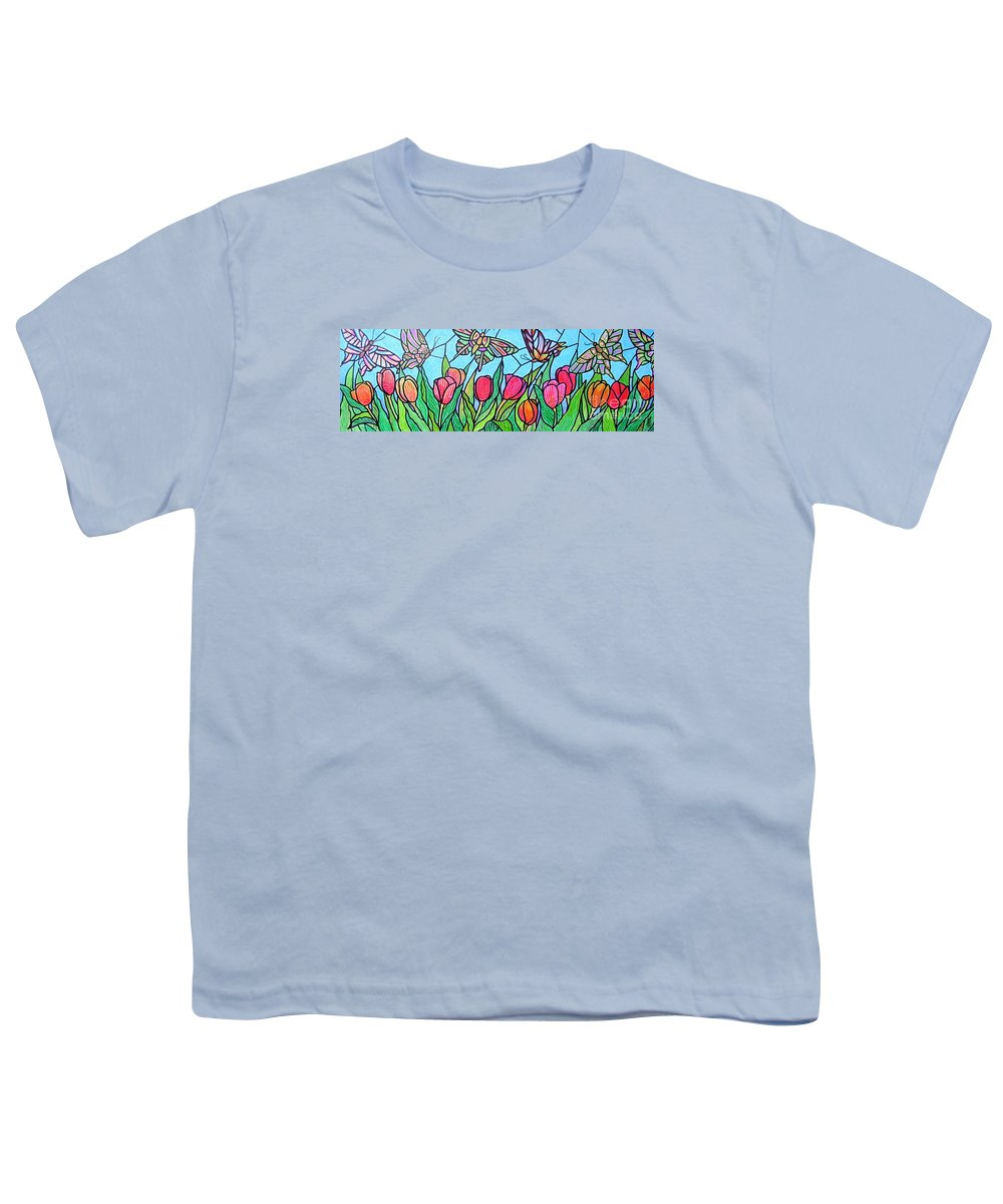 Spring Youth T-Shirt featuring the painting Tulips And Butterflies by Jim Harris