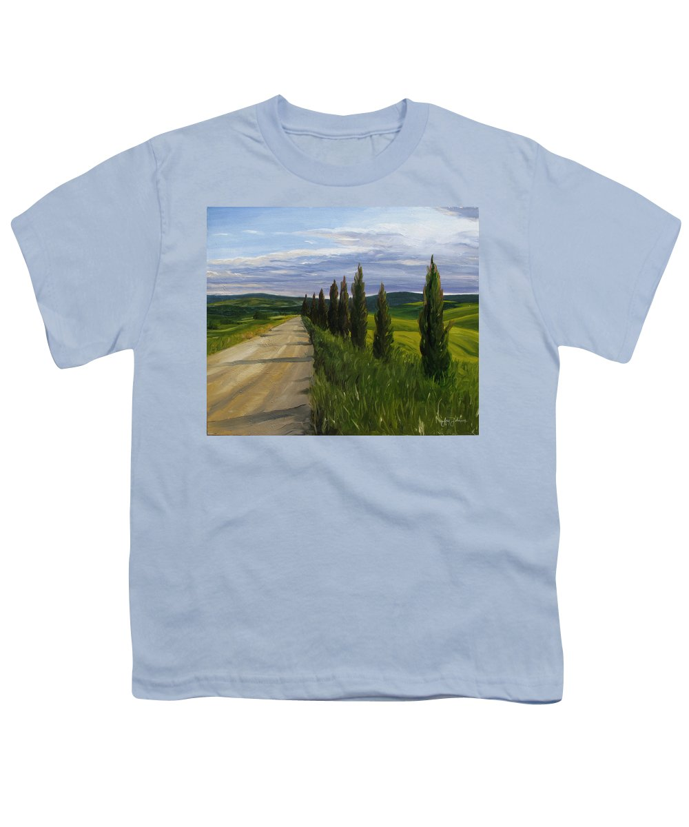 Youth T-Shirt featuring the painting Tuscany Road by Jay Johnson