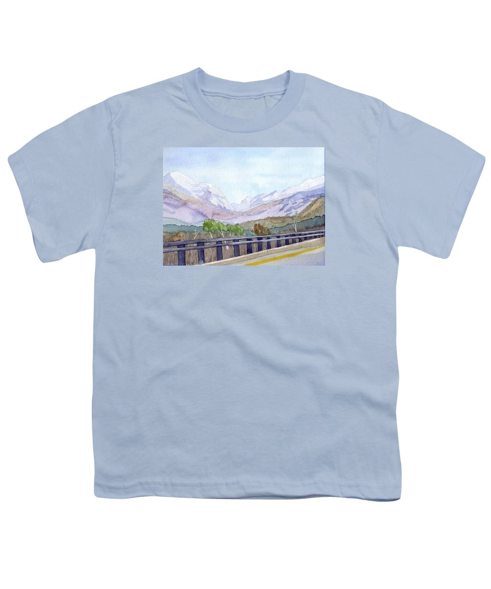 Franconia Notch Youth T-Shirt featuring the painting View Of Franconia Notch by Sharon E Allen