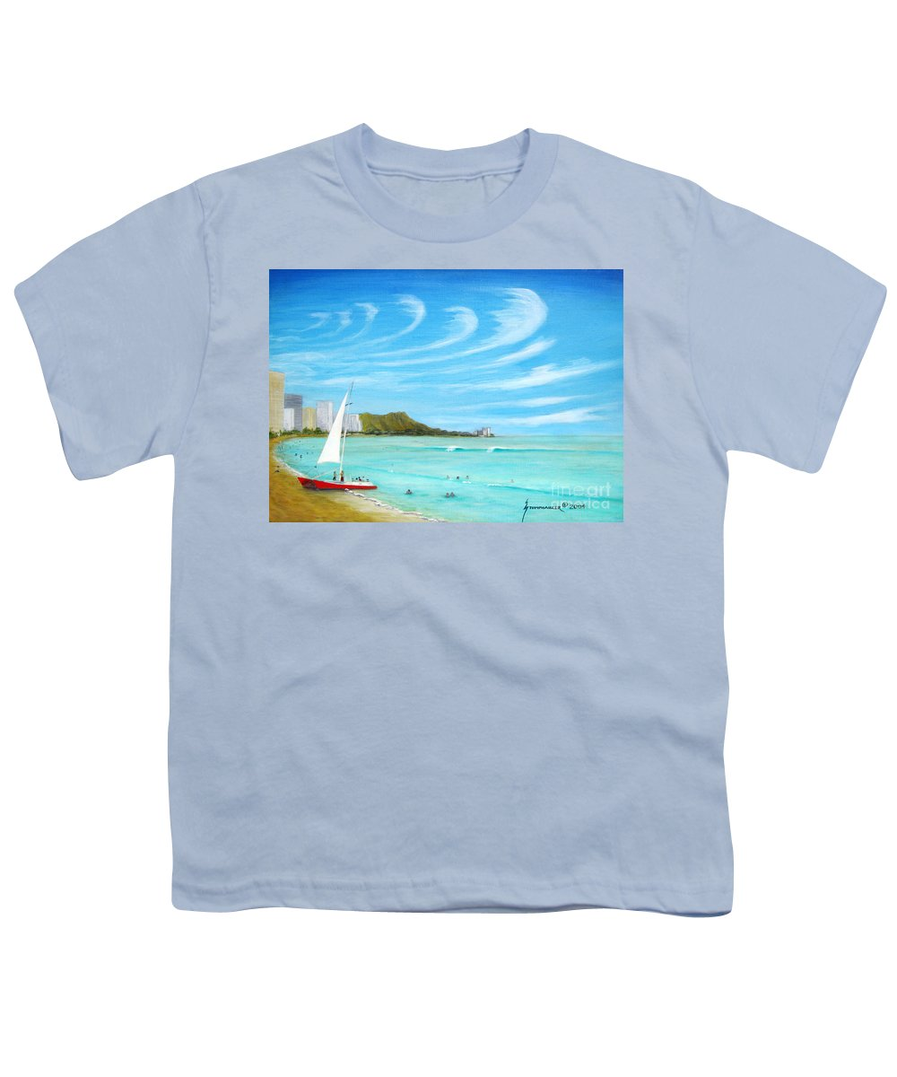 Waikiki Youth T-Shirt featuring the painting Waikiki by Jerome Stumphauzer