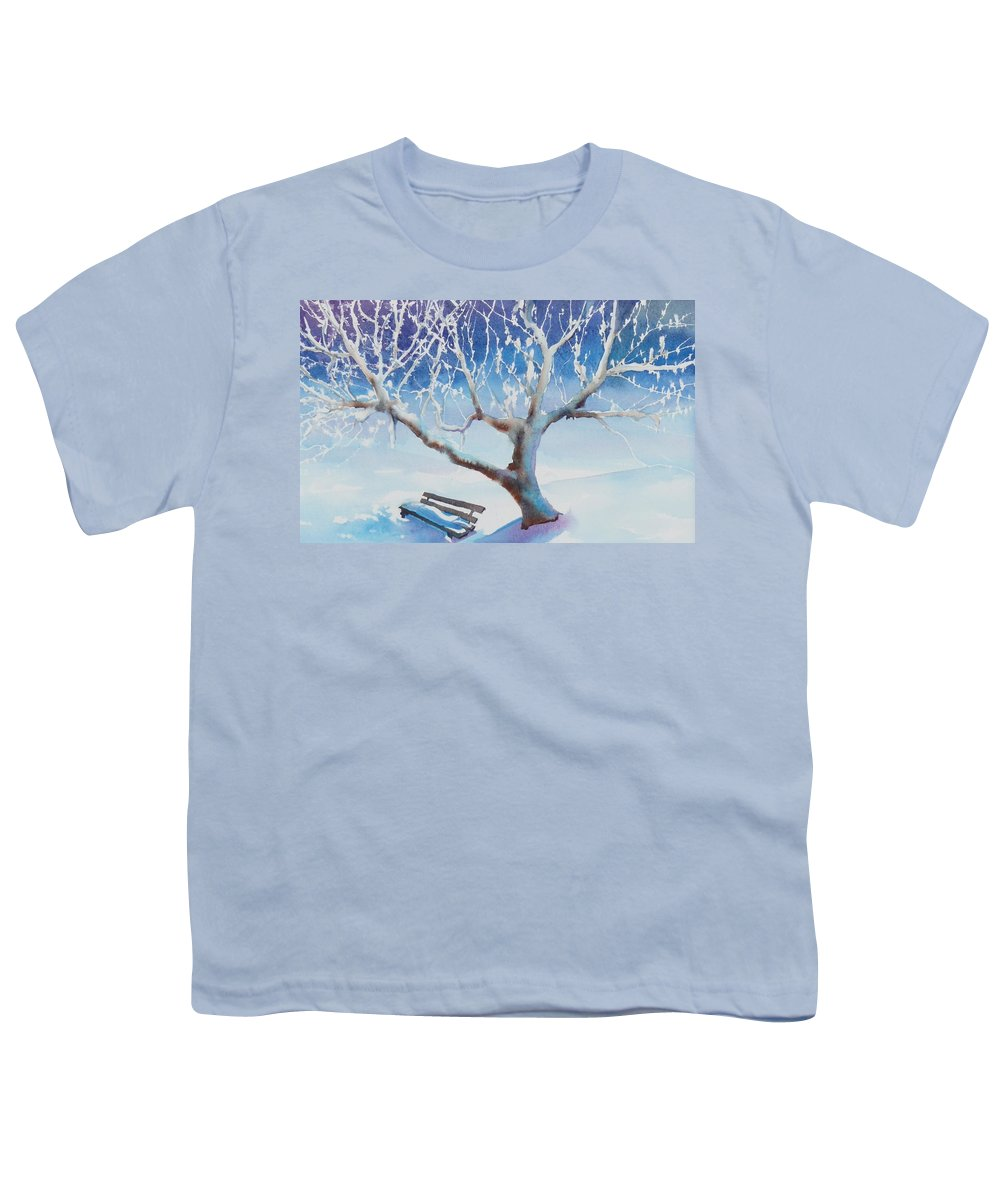 Snow Youth T-Shirt featuring the painting Waiting For Spring by Ruth Kamenev