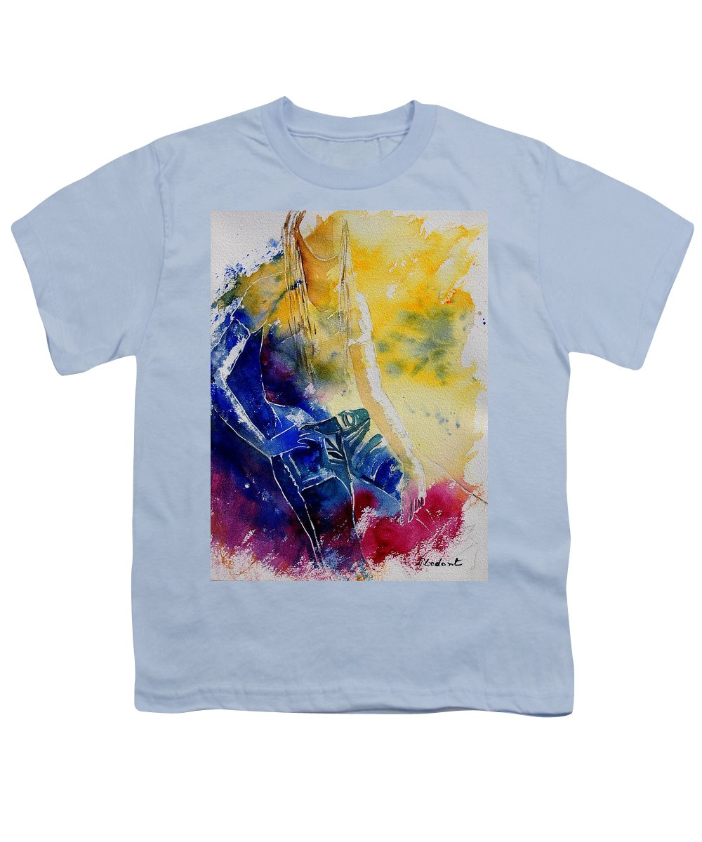 Girl Nude Youth T-Shirt featuring the painting Watercolor 21546 by Pol Ledent