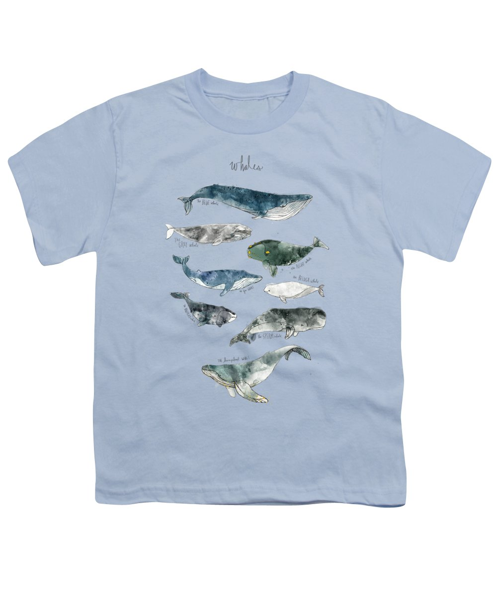 Whales Youth T-Shirt featuring the painting Whales by Amy Hamilton