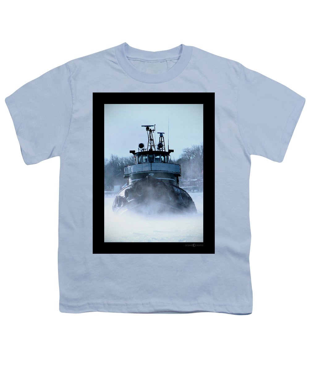Tug Youth T-Shirt featuring the photograph Winter Tug by Tim Nyberg