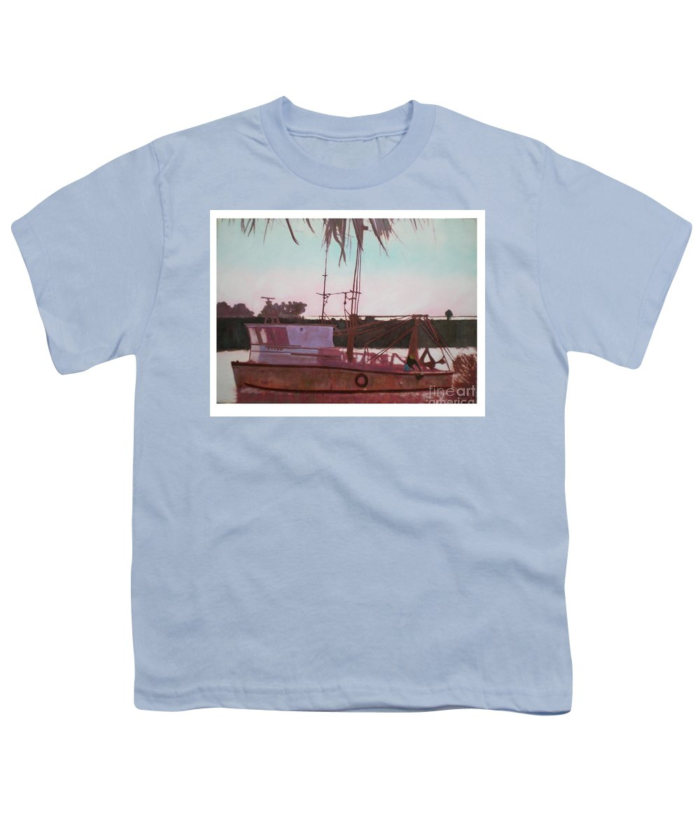 Seascape Youth T-Shirt featuring the digital art Yankee Town Fishing Boat by Hal Newhouser