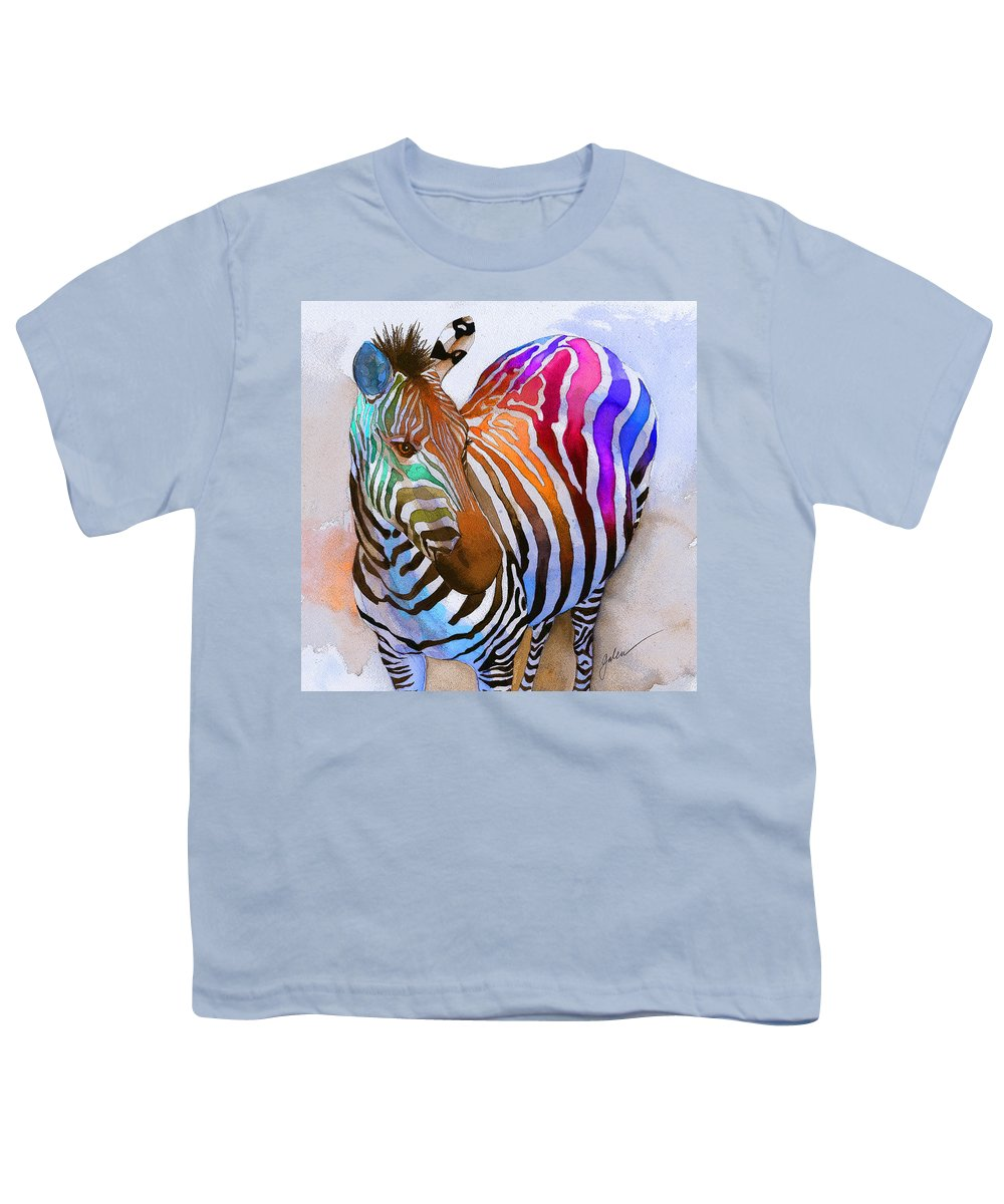 Colorful Youth T-Shirt featuring the painting Zebra Dreams by Galen Hazelhofer