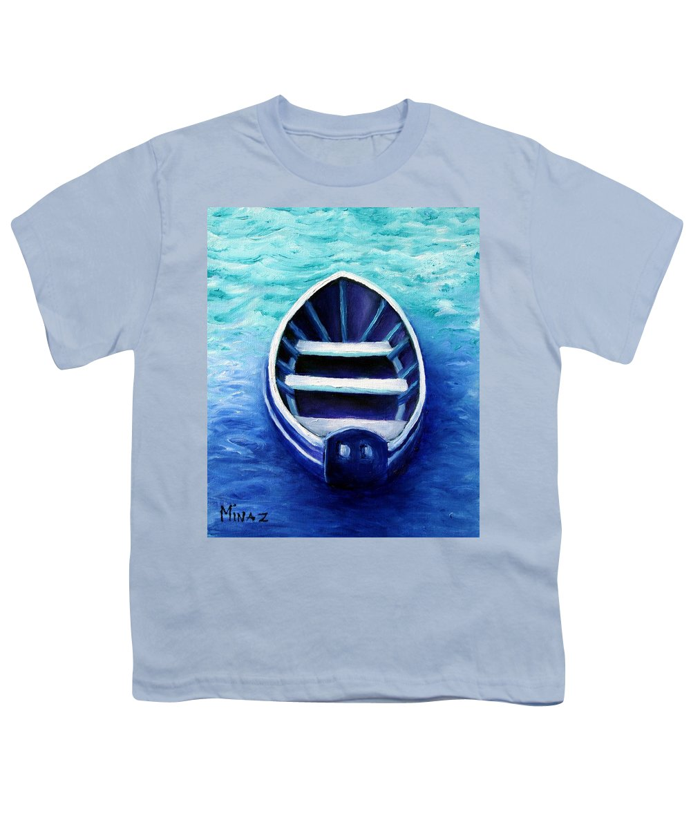 Boat Youth T-Shirt featuring the painting Zen Boat by Minaz Jantz