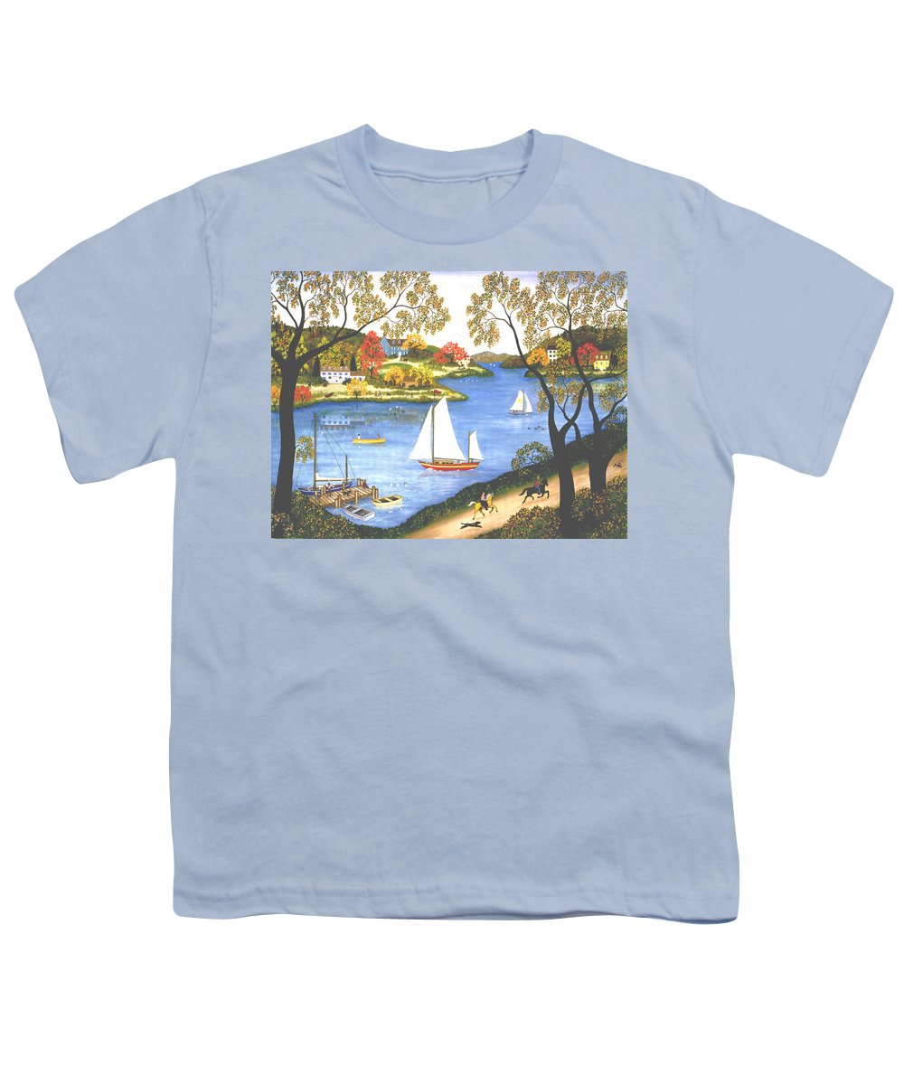 Contemporary Fine Art Landscape Youth T-Shirt featuring the painting Autumn Holiday by Linda Mears