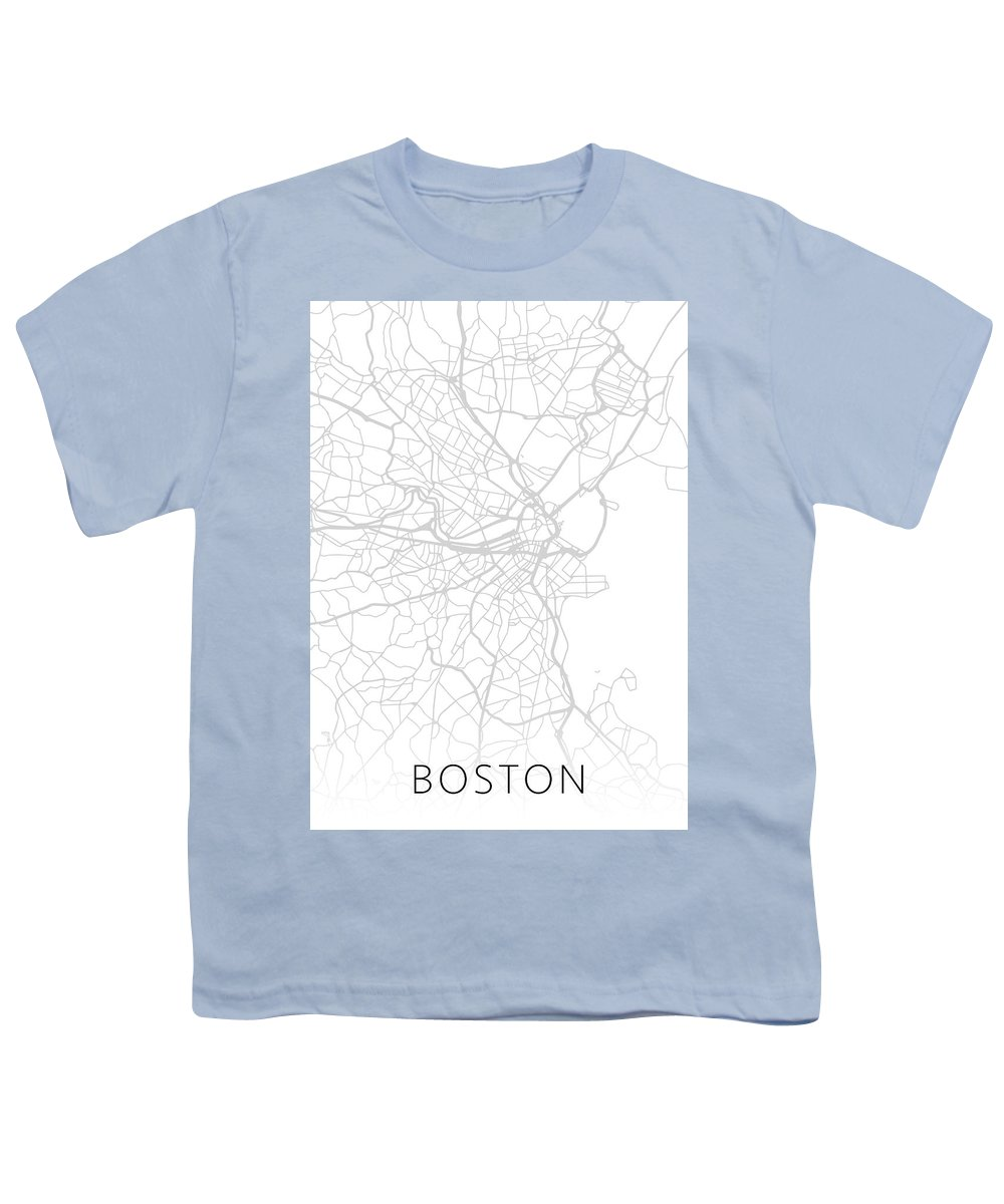 Boston Youth T-Shirt featuring the mixed media Boston Massachusetts City Street Map Black And White Minimalist Series by Design Turnpike