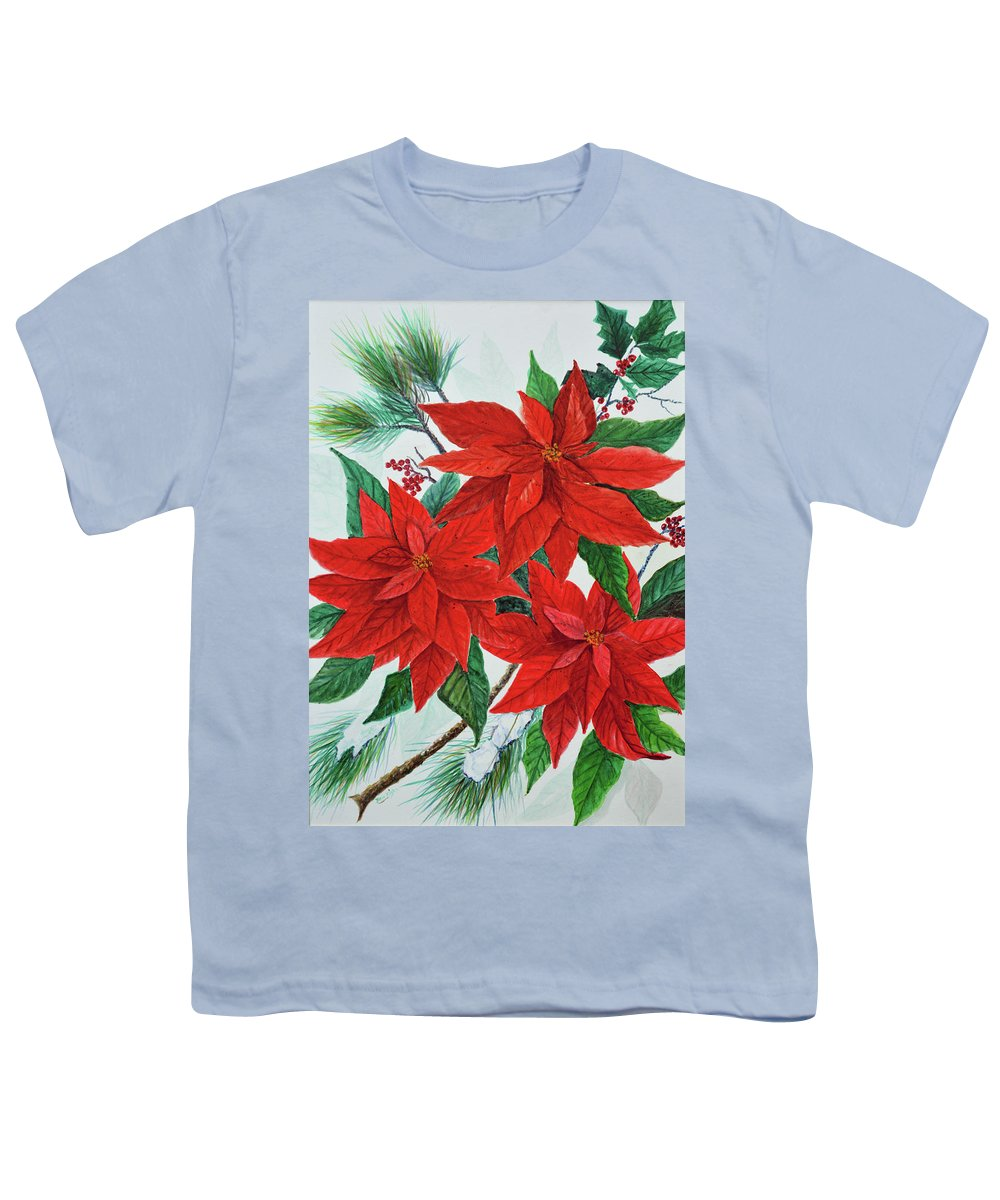 Poinsettias Youth T-Shirt featuring the painting Poinsettias by Ben Kiger
