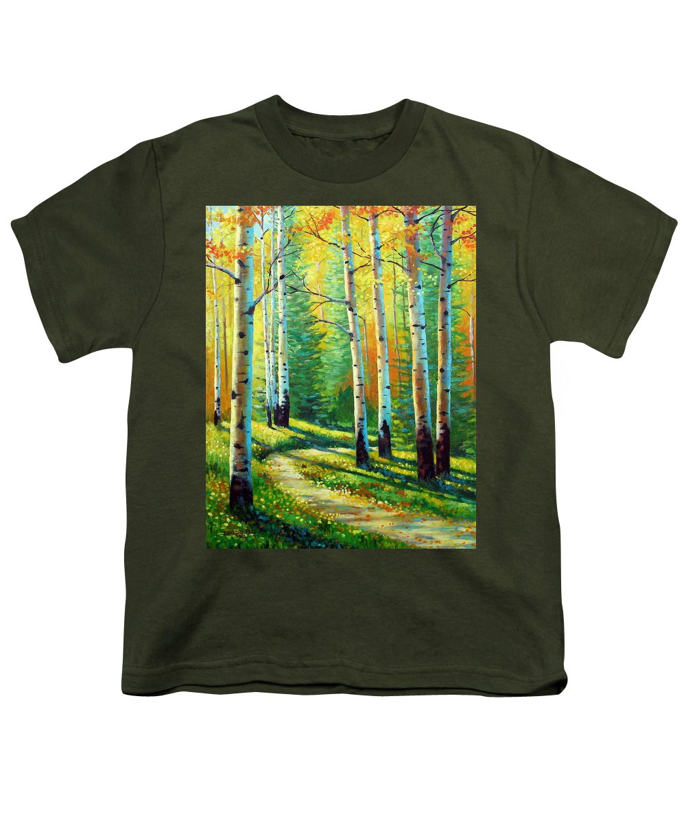 Landscape Youth T-Shirt featuring the painting Colors Of The Season by David G Paul