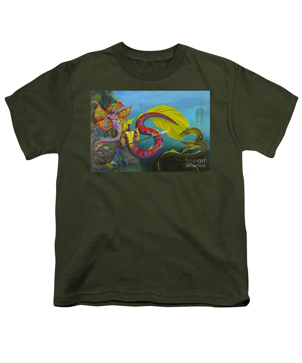 Mermaid Youth T-Shirt featuring the painting The Threat by Melissa A Benson